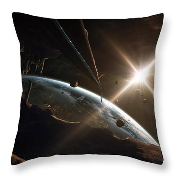 Mining Colony On An Asteroid Throw Pillow by Tobias Roetsch
