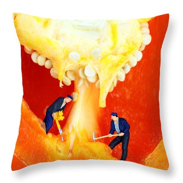 Mining In Colorful Peppers II Throw Pillow by Paul Ge