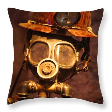 Mining Man Throw Pillow by Randy Harris