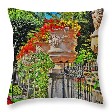 Mirabell Gardens In Salzburg Hdr Throw Pillow by Mary Machare