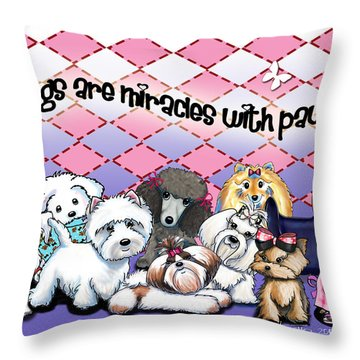 Miracles With Paws Throw Pillow