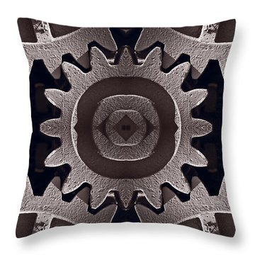Mirror Gears Throw Pillow by Steve Gadomski