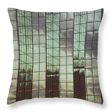 Mirrored Building Throw Pillow by Mark Greenberg