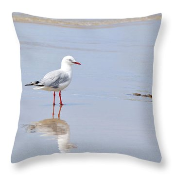 Mirrored Seagull Throw Pillow by Kaye Menner
