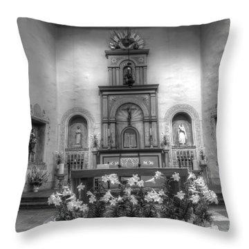 Mission San Diego De Alcala Monochrome Throw Pillow