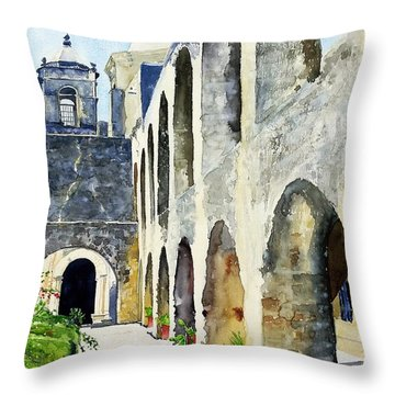 Throw Pillow featuring the painting Mission San Jose by Tom Riggs