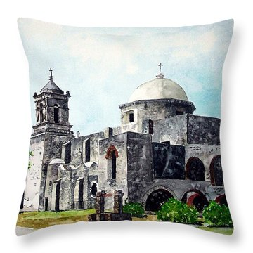 Throw Pillow featuring the painting Mission San Jose Two by Tom Riggs