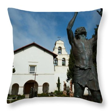 Mission San Juan Bautista Throw Pillow by Jeff Lowe
