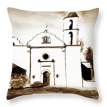 Mission San Luis Rey In Sepia Throw Pillow