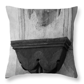 Mission San Xavier Del Bac - Angel Gargoyle In Black And White Throw Pillow by Suzanne Gaff