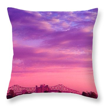 Mississippi River Bridge At Twilight Throw Pillow