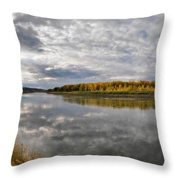 Missouri River Autumn Panoramic Throw Pillow by Leland D Howard