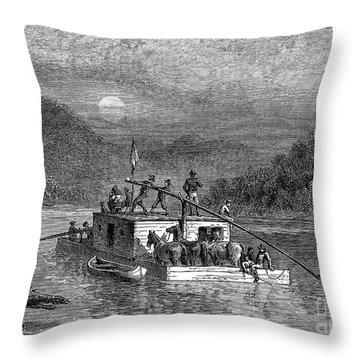 Missouri River: Flatboat Throw Pillow by Granger