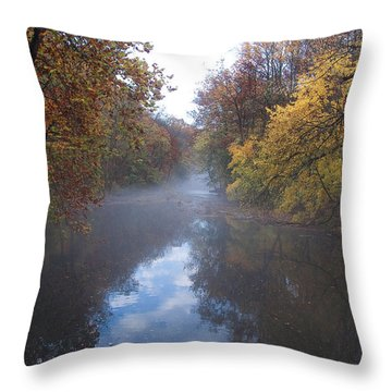 Mist Along The Wissahickon Throw Pillow by Bill Cannon