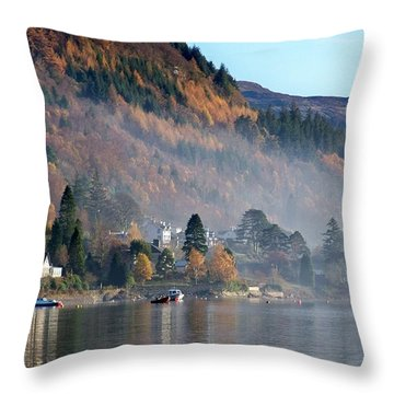 Throw Pillow featuring the photograph Misty Autumn Morning by Lynn Bolt