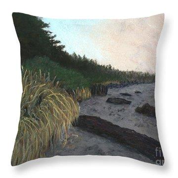 Misty Beach Throw Pillow by Ginny Neece