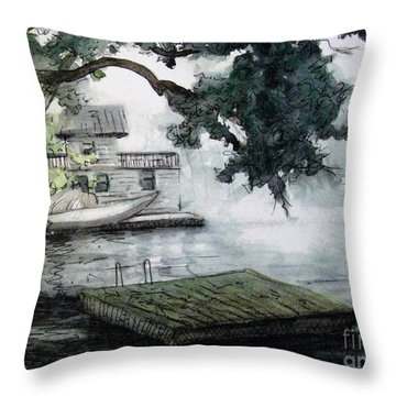 Misty Dock At Lake Rabun Throw Pillow by Gretchen Allen