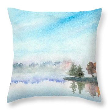 Misty Lake Throw Pillow by Yoshiko Mishina
