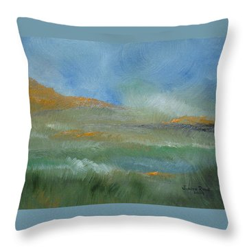 Throw Pillow featuring the painting Misty Morning by Judith Rhue