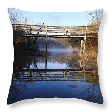 Throw Pillow featuring the photograph Misty River Bridge by Gerald Strine