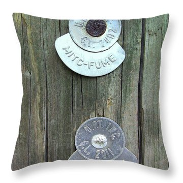 Throw Pillow featuring the photograph Mitc Fume Tags On Light Pole by Renee Trenholm