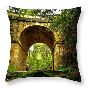 Mitchells Pass Bridge Lapstone A Convict Built Bridge Throw Pillow