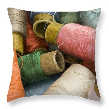 Mixed Thread Spools Throw Pillow