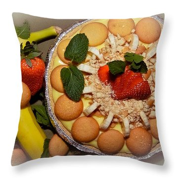 Mmm Nana Puddin Pie Throw Pillow by DigiArt Diaries by Vicky B Fuller