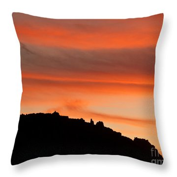 Moab Rim Sunset Throw Pillow by Bob and Nancy Kendrick