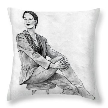Throw Pillow featuring the drawing Model by Wendy McKennon