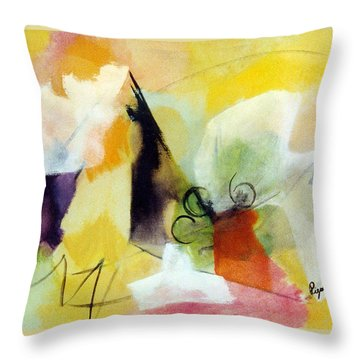Modern Art With Yellow Black Red And Fanciful Clouds Throw Pillow