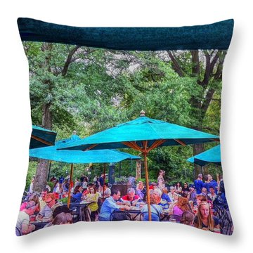 Modern Boating Party Crowd At Central Park In New York City Throw Pillow
