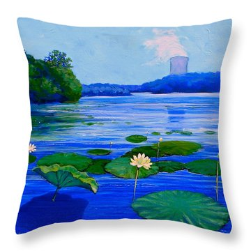 Modern Mississippi Landscape Throw Pillow