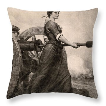 Molly Pitcher At The Battle Throw Pillow