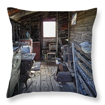 Molson Ghost Town Storage Shed Throw Pillow by Daniel Hagerman