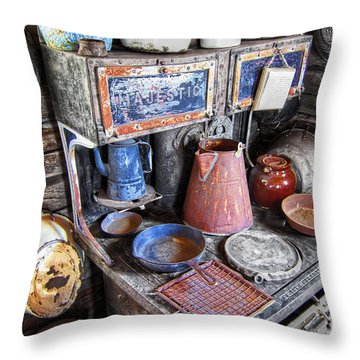 Molson Ghost Town Stove - Washington Throw Pillow by Daniel Hagerman