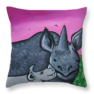 Momma And Baby Rhino Throw Pillow by Jera Sky