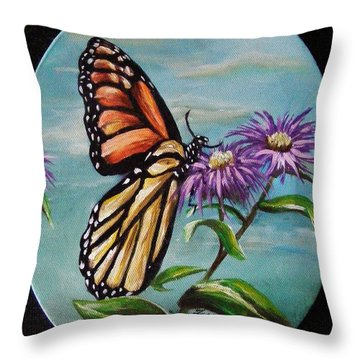 Throw Pillow featuring the painting Monarch And Aster by Karen  Ferrand Carroll