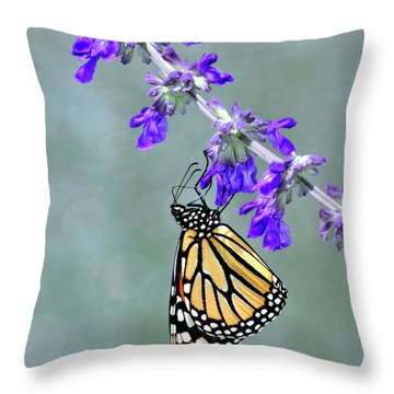 Monarch On Purple Throw Pillow