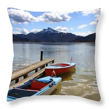 Mondsee Lake Boats Throw Pillow by Lauri Novak