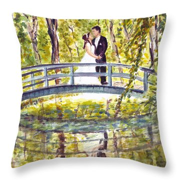 Throw Pillow featuring the painting Monet Wedding by Clara Sue Beym
