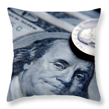 Money In Macro Throw Pillow