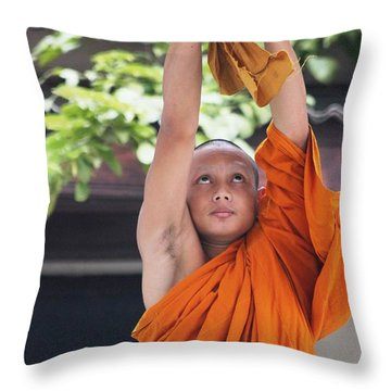 Monk In The Bell Tower #2 Throw Pillow by Nola Lee Kelsey