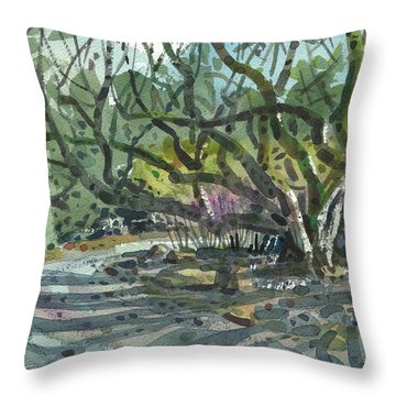 Throw Pillow featuring the painting Monk Trees Two by Donald Maier