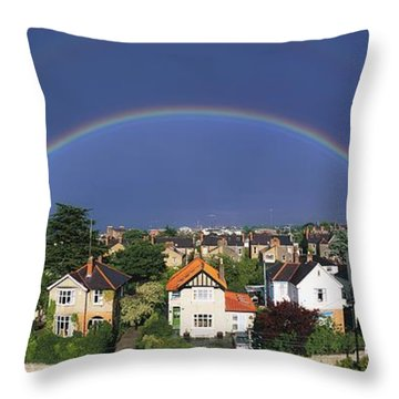 Monkstown, Co Dublin, Ireland Rainbow Throw Pillow by The Irish Image Collection