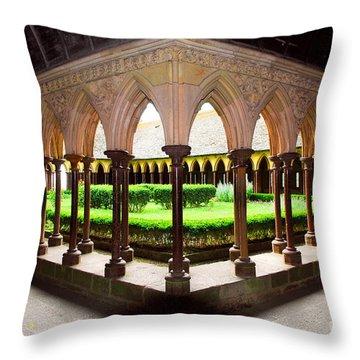 Mont Saint Michel Cloister Garden Throw Pillow