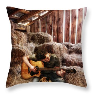 Montana Boy Throw Pillow by Shawna Mac