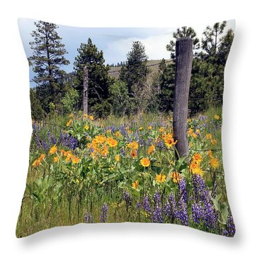 Throw Pillow featuring the photograph Montana Wildflowers by Athena Mckinzie