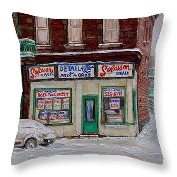 Montreal Corner Market Winter Scene Throw Pillow by Carole Spandau