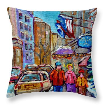 Montreal Street Scenes In Winter Throw Pillow by Carole Spandau
